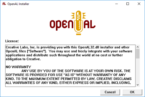 Screen dump of the OpenAL user agreement screen