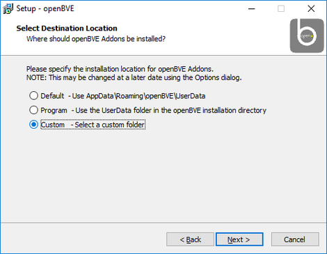 Screen dump of the dialogue window to select which path to install add-ons to