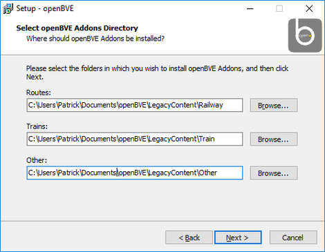 Screen dump of the dialogue window to select custom paths for OpenBVE add-ons