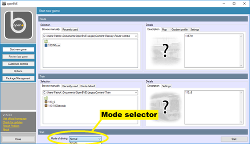 Screen dump of the OpenBVE start window showing the location of the mode selection field
