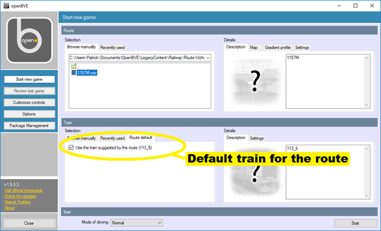 Screen dump of selection of default train for a route