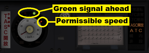Screen dump of a train control panel where ATC indicates an upcoming green signal with a green
