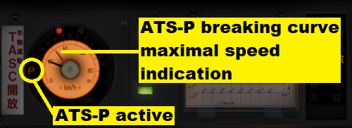 Screen dump of a train control panel where the use of ATS-P is indicated with the letter P